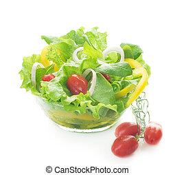 saudável, salada, isolado, branco