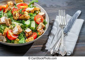 saudável, salada, pronto comer
