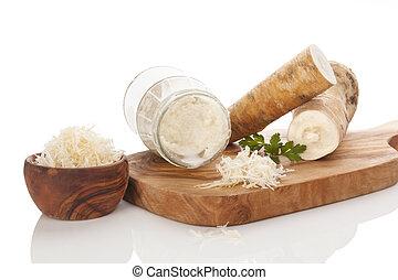 saudável, sauce horseradish, e, raiz