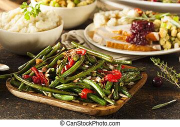 saudável, sauteed, feijões verdes