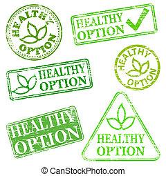 saudável, selos, opção