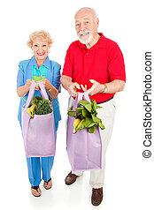 saudável, seniores, direita, comer