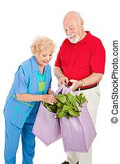 saudável, seniores, recicle