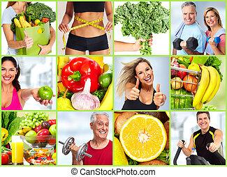 saudável, set., condicão física, pessoas