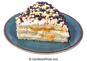 saudável, sobremesa, low-calorie, fruta, pedaço, cake.