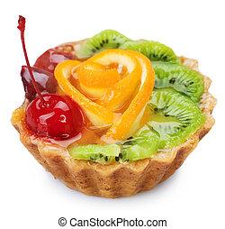 saudável, sobremesa, sobre, fruta, white., bolo