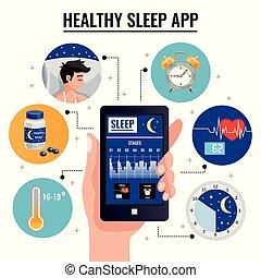 saudável, sono, app, conceito, desenho