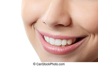 saudável, sorrizo, mulher, dentes