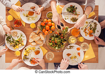 saudável, tabela, cheio, alimento