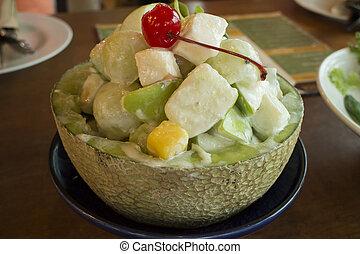 saudável, tigela fruta, salada