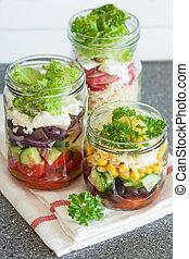 saudável, vegetal, queijo, salada, em, jarros pedreiro