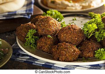 saudável, vegetariano, falafel, bolas
