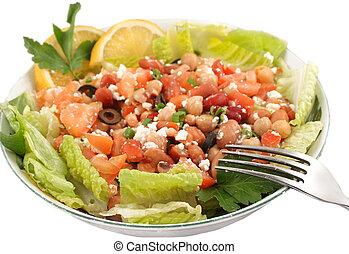 saudável, vegetariano, salada feijão