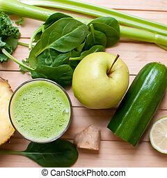 saudável, verde, detox, suco
