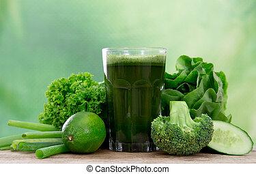 saudável, verde, suco