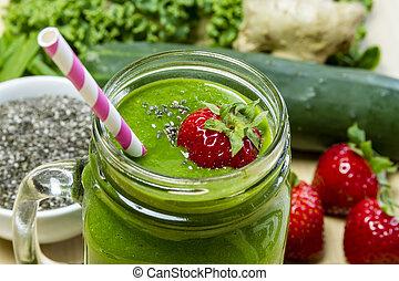 saudável, verde, suco, smoothie, bebida