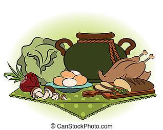 saudável, vindima, refeição, ingredients.