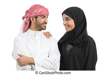 saudí, árabe, pareja, matrimonio, mirar, con, amor