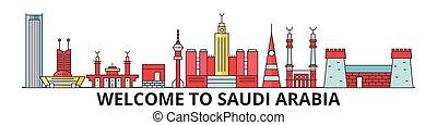 saudí, señales, árabe, vector, silueta, banner., delgado, urbano, viaje, arabia, línea, plano, cityscape, iconos, perfil de ciudad, contorno, illustrations.