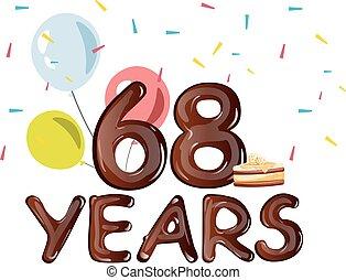 saudação, aniversário, anos, 68, cartão, celebração