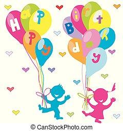 saudação, aniversário, balões, crianças, cartão, feliz