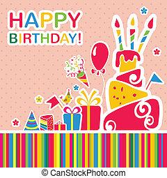 saudação, aniversário, experiência., vetorial, cartão, feliz