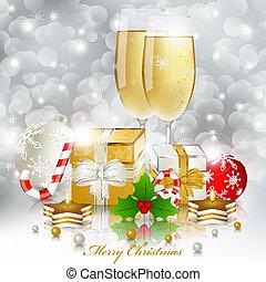 saudação, ano, novo, champanhe, cartão