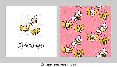 saudação, bee., padrão, cartões., cute, amarela, jogo, engraçado