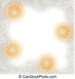 saudação, borrão, fundo, com, contorno, calendula, flores