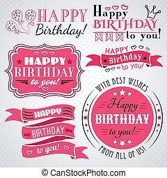 saudação, cobrança, aniversário, desenho, feriado, cartão, feliz