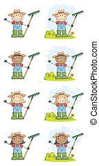 saudação, crianças, jardinagem, waving