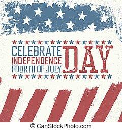 saudação, dia, 4th, desenho, independência, julho, template., cartão, celebração