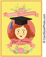 saudação, feliz, vetorial, cartão, amarela, graduação, menina