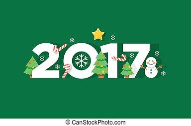 saudação, ilustração, vetorial, ano, novo, 2017, feliz