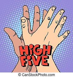 saudação, mão, alto cinco, pretas, branca