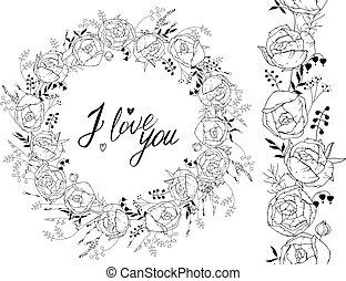 saudação, modelo, com, redondo, quadro, feito, de, ranunculus., contorno, pretas, flores, e, frase, amo