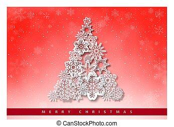 saudação, papel, natal, snowflakes