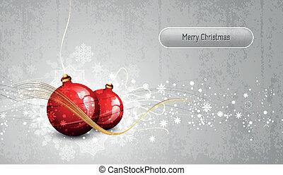 saudação, prata, cartão, globos, natal, vermelho