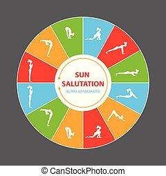 saudação, sol, asana, ioga