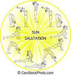 saudação, sol, ioga, exercício, ilustração