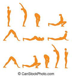 saudação, sol, ioga