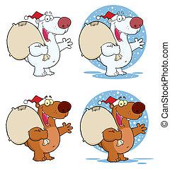 saudação, urso, waving, santa