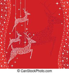 saudação, veado, cartão natal, vermelho