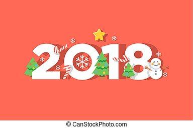 saudação, vetorial, 2018, ano, novo, cartão, feliz