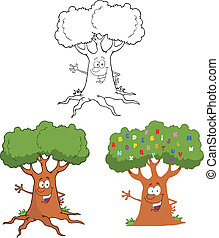 saudação, waving, árvore, feliz