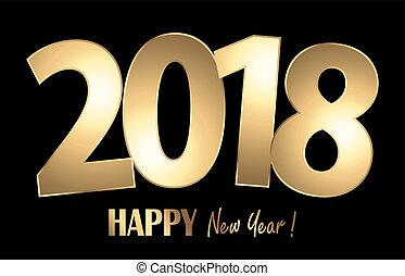 saudações, 2018, fundo, ano, novo, feliz