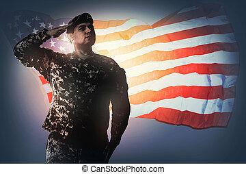 saudando, a, bandeira nacional