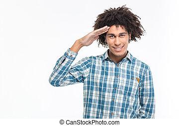 saudando, americano, feliz, afro, homem
