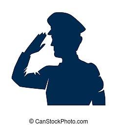 saudando, silueta, militar