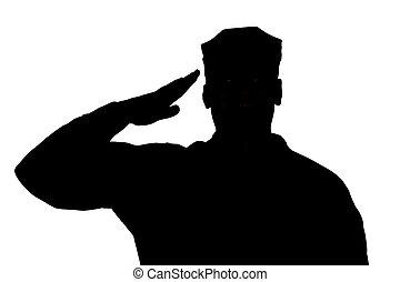 saudando, soldado, silueta, branco, fundo, isolado